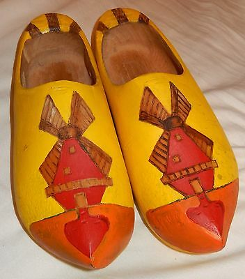 Vintage Dutch Wooden Hand Painted Clogs From Holland
