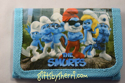 The Smurfs Family Light Blue Personalized  Tri-Fold Character Wallet