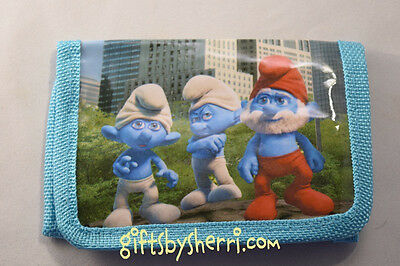The Smurfs Light Blue Personalized  Tri-Fold Character Wallet