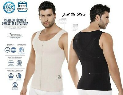 Fajas Reductoras Colombianas Para Hombre Men's Zipper Latex T-Shirt Shaper