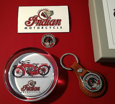Indian Motorcycles  Collectors Sets: Glass Paperweights, Key Rings & Badges