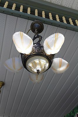 Antique Art Deco Slip Shade Ceiling Light Fixture Chandelier Electrolier