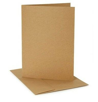 Small Smooth Brown Kraft Paper Blank A1 size Cards and Envelopes - Set of 12