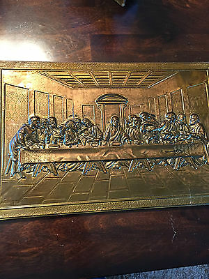 """Vintage 3D Hammered Brass """"The Last Supper""""  Wall Hanging Great Patina"""