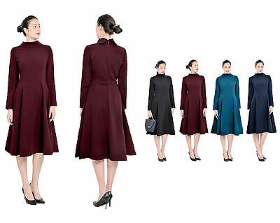 811df5dfc0d Marycrafts Womens Winter Outwear High Collar Neck Long Sleeve A Line Midi  Dress