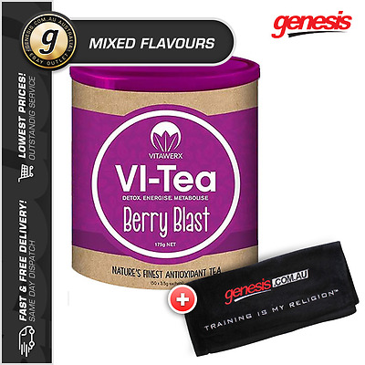 Vitawerx VI-TEA Antioxidant *50 Serve MIXED FLAVOURS*  Green Tea Detox + Shaker!