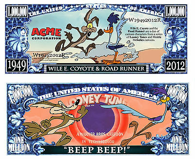 RoadRunner & Coyote Million Dollar Novelty Collector Bill Note