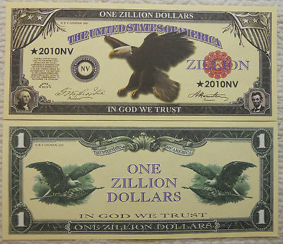 Eagle Zillion Dollar Novelty Collector Bill Note