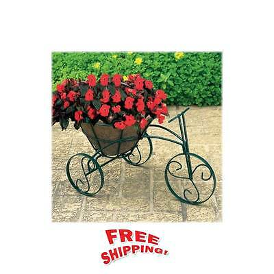 Tricycle Garden Flower Pot Planter Basket Black Finish Bicycle Patio Outdoor NEW