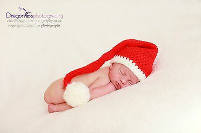 Christmas santa stocking hat Cream Trim & Pom. Newborn. Photo photography prop.