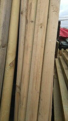 2.4m (8ft) x 50mm DIAMETER MACHINE  ROUND WOODEN POINTED TREATED  POSTS / STAKES