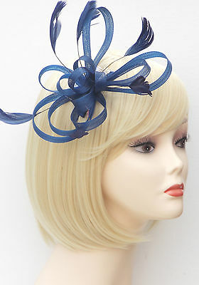 Navy Blue Fascinator Comb Hair Flower Feather Wedding Ladies Day Races UK