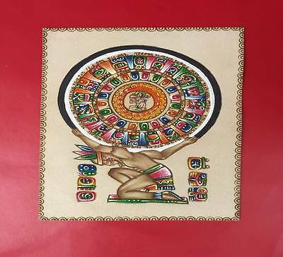 Mayan Painting Pyrography Leather Decor Mexican Folk Art Handmade Handpainted