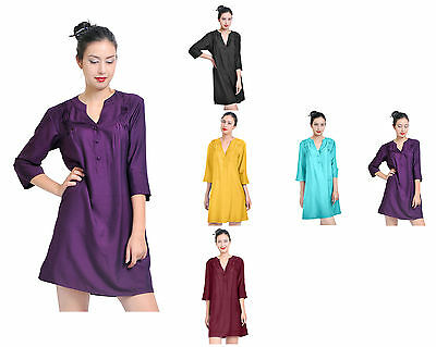 Mary Crafts Womens Casual Silk Cotton Tunic Dress Blouse Shirt Top Long Sleeve