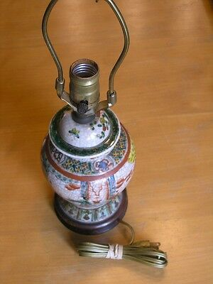 Antique Chinese Famille Verte Nanking Craqueled Ware Ginger Jar Electric Lamp