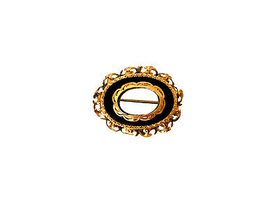 VICTORIAN MOURNING 15ct Gold Black Onyx Hair Brooch Pin Window
