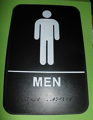 Ada Restroom Sign Men Only  Braille Black Public Bathroom