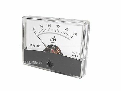 50uA Panel Meter, Analog, Microamp 0-50