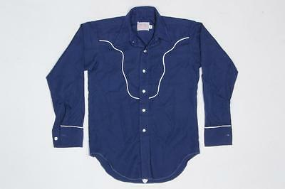 Youth Vintage H Bar C Blue Western Cowboy Rockabilly Pearl Snap Shirt 14