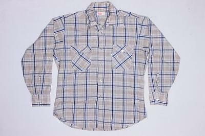 70s Mens Vintage Levis White Tab Plaid Western Rockabilly Style Shirt M