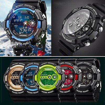 Mens Stainless Steel LED Digital Date Alarm Waterproof Sports Military Watch