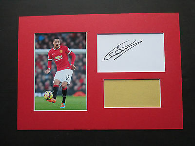 Manchester United Chris Smalling Hand Signed A4 Mounted Card & Photo Display-Coa