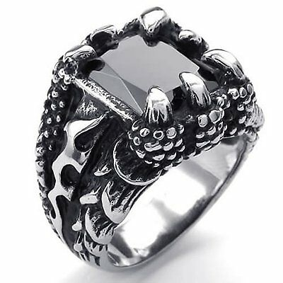 MENDINO Men's Stainless Steel Ring Fire Dragon Claw Square Black Stone Punk Rock