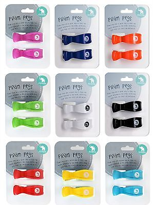 Pram Pegs 2 Pack  | 14 Twin Pack Colours | Pram Clips | Baby Shower Gift Idea