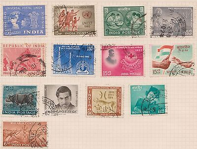 (OQ-70) 1940 to 1960 India mix of 25stamps 2A to 90NP mixed condition (D)