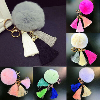 Lovely Car Key Chains Jewelry Bag Charm Brand Leather Keychain Tassel  Ring