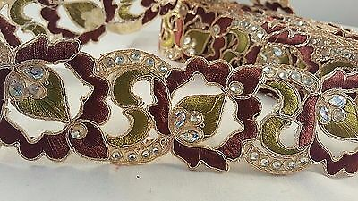 5cm- 1 meter Beautiful olive and brown diamante embroidered lace for crafting