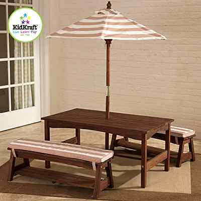 Table Kids Bench Picnic Outdoor Set Play Umbrella Furniture Patio And Benches