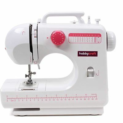 Hobbycraft Midi Sewing Machine LED Light 12 Stitch Adjustable Speed Foot Pedal