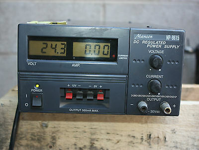Manson DC Regulated Power Supply NP-9615 input 240V Output 0-30VDC