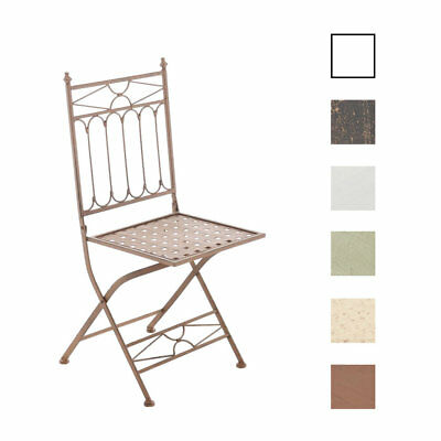 Folding Iron Garden Chair ASINA Foldable Patio Outdoor Seat Metal Vintage Shabby