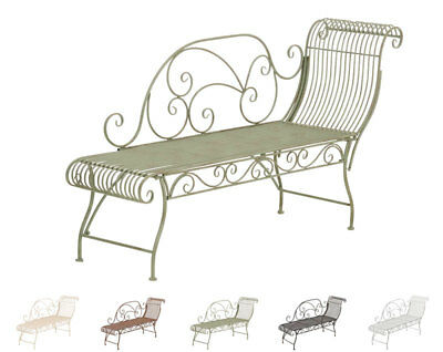 Garden Bench Karma Iron Shabby Chic Metal Seat Antique Bronze White Brown New