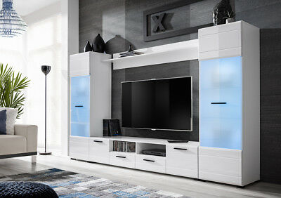 Living Room White High Gloss Furniture Display Cabinet Wall Unit TV Stand Switch