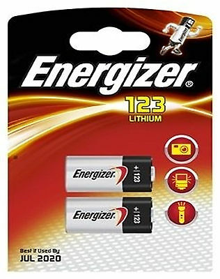 2 x ENERGIZER 3v PHOTO LITHIUM CR123A DL123A 123 BATTERY DIGITAL CAMERA SLR