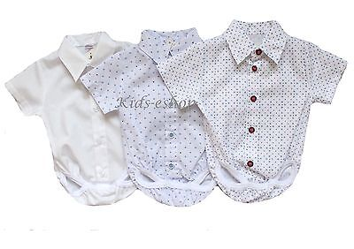 Baby Boy White Blue Smart Shirt Style Romper Body Shirt Short Sleeve 0-18M