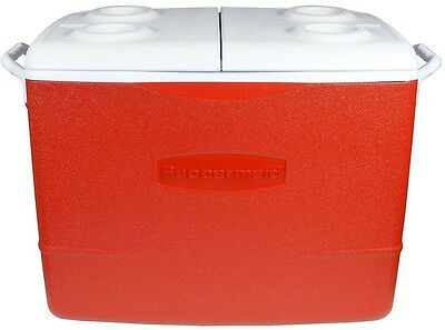 Rubbermaid 50 Qt. Insulated Modern Red Cooler Ice Chest Box Food Drink Camping