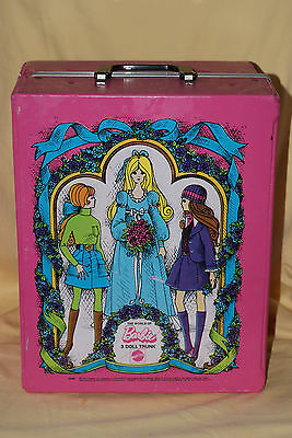 Empty Vintage 1971 World Of Barbie Pink 3 Doll Storage Case Trunk