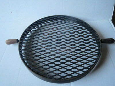 Vintage CAST IRON GRILL Wood Handles RARE OLD BEAUTY