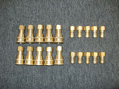 "Set of 10 Brass 1/4"" Quick Disconnects w/Stainless Steel Tips"