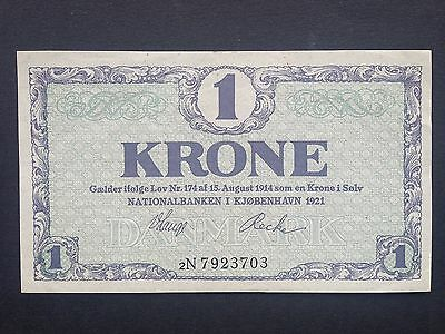 Denmark 1 Krone P12G Dated 1921 EF+