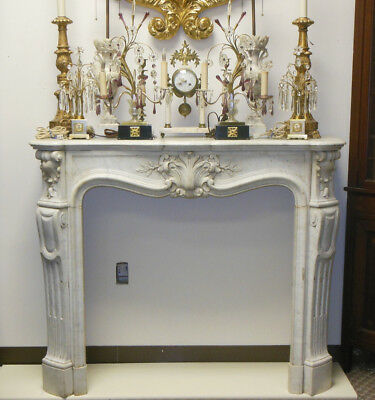 Amazing Whire Carrara Marble French Mantel Fireplace Louis XVI Style Rococo