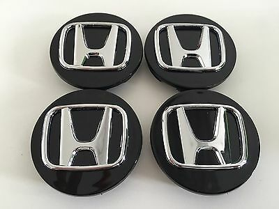 SET OF 4 69mm OR 2.75 BLACK WHEEL BADGE CENTER CAPS FOR HONDA ACCORD CIVIC PILOT