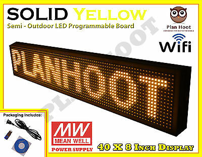 "40""X8"" LED YELLOW PROGRAMMABLE SCROLLING SIGN Wifi USB APP SEMI OUTDOOR INDOOR"