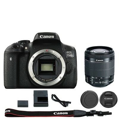 Canon EOS Rebel T6i / 750D DSLR Camera + EF-S 18-55mm IS STM Lens