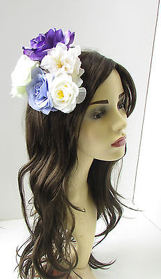 Large Purple Rose Flower Fascinator Headpiece Races Vtg Floral Rockabilly Z85