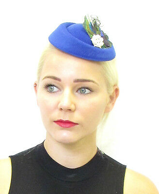 Royal Blue Peacock Feather Pillbox Fascinator Hat Headpiece Vintage Races 40s 40